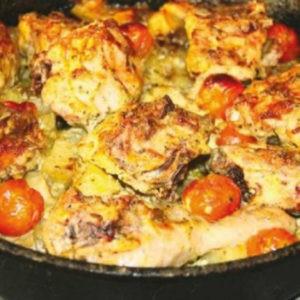 Рецепт. Картошка с курицей и помидорами