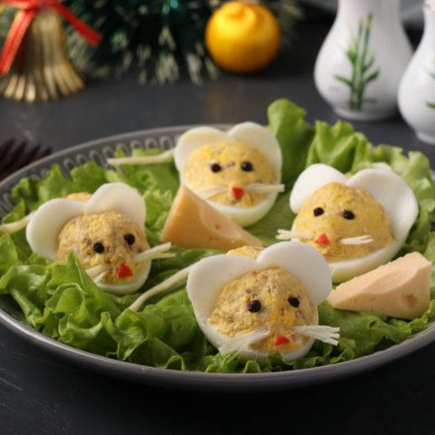"""Фаршированные яйца """"Мышки"""" к Новому Году 2020"""
